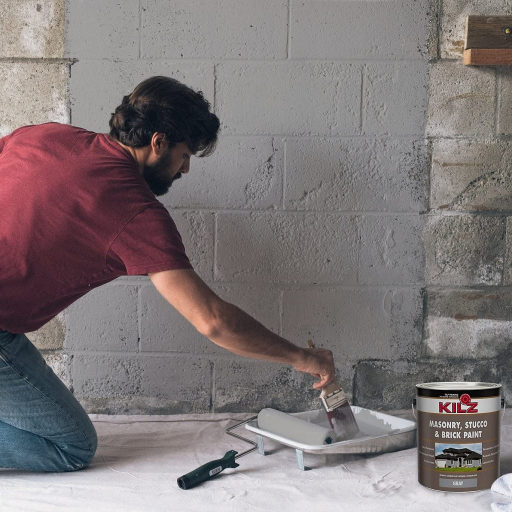 KILZ Interior Exterior Self-Priming Masonry, Stucco Brick Paint