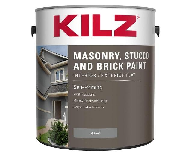 KILZ Interior/Exterior Self-Priming Masonry, Stucco and Brick Flat Paint