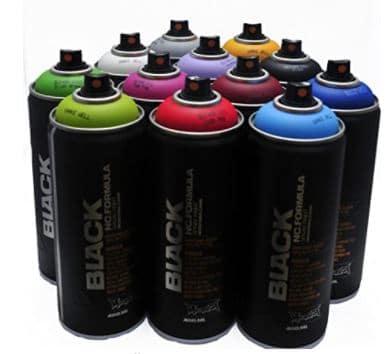Montana BLACK 400ml Popular Colors Set of 12 Graffiti Street Art Mural Spray Paint  Review