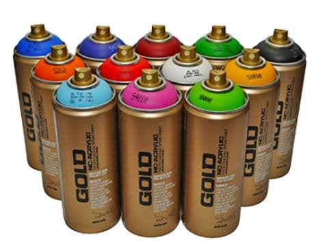 Montana Gold Premium Spray Paint 400ml Main Colors Set of 12 Review