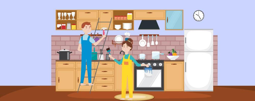 man with hammer on a ladder and a woman with a paint bucket on one hand and paint brush on the other