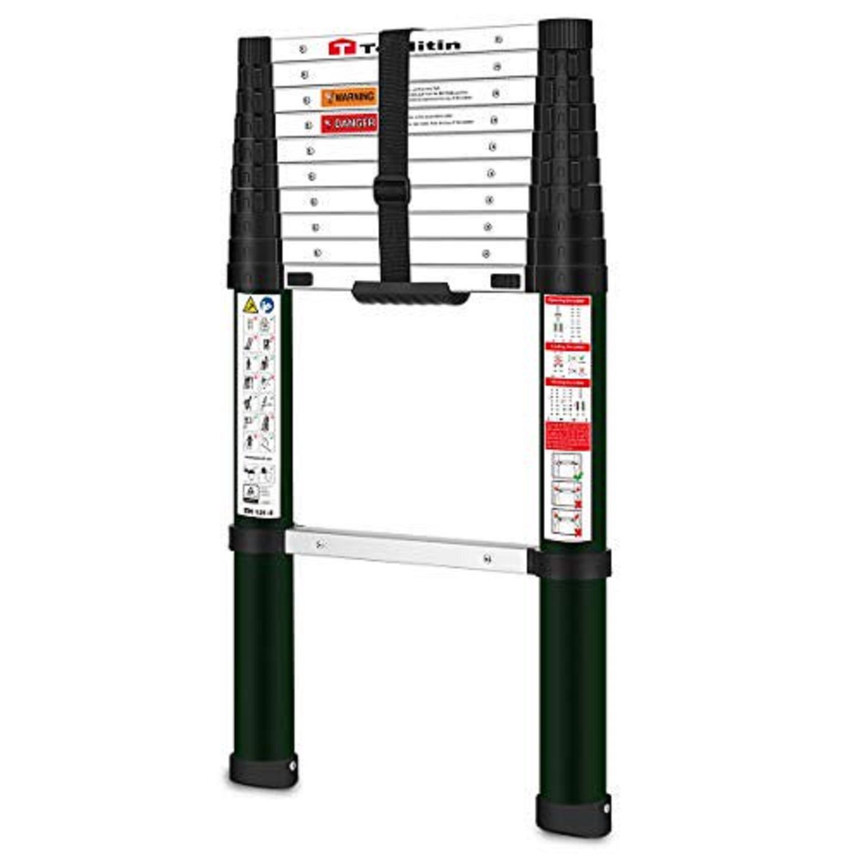 TOOLITIN 12.5ft Aluminum Telescopic Ladder
