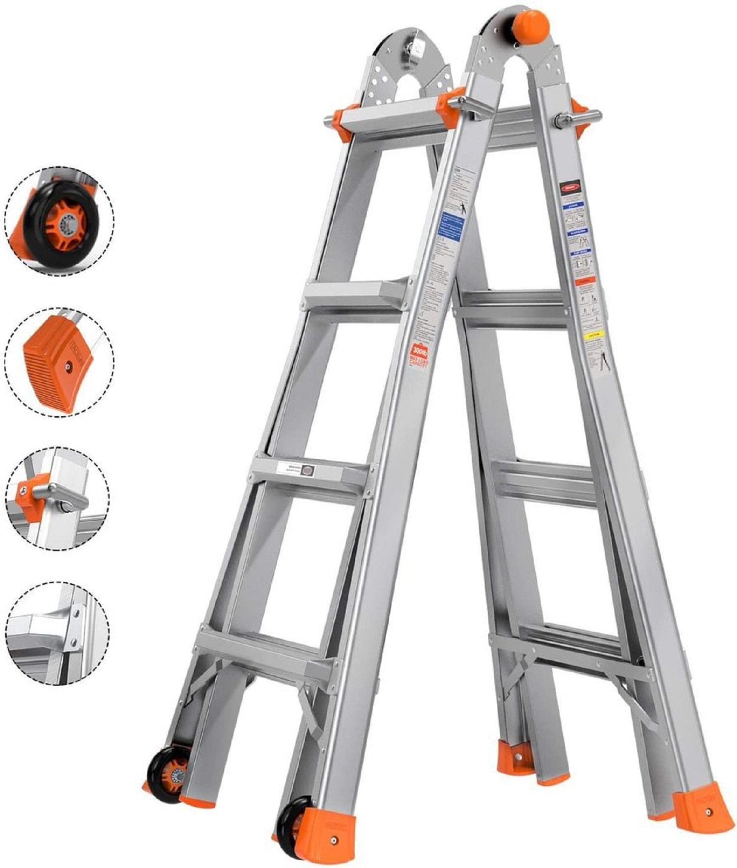 Tacklife 17ft Telescoping Ladder